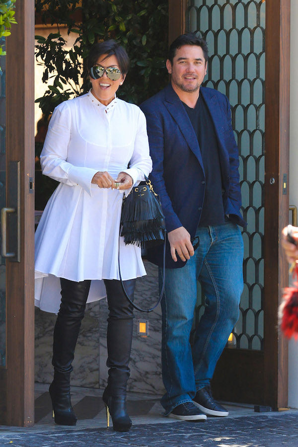 West Hollywood, CA - Kris Jenner ends a lunch date with actor Dean Cain at Cecconi's in West Hollywood. As the pair exited the restaurant Kris acted as if she where surprised that the cameras where there just before her skirt blew up in the wind. Kris and the former Superman, Dean chatted for a few moments before leaving separately. AKM-GSI    August  27, 2014 To License These Photos, Please Contact : Steve Ginsburg (310) 505-8447 (323) 423-9397 steve@akmgsi.com sales@akmgsi.com or Maria Buda (917) 242-1505 mbuda@akmgsi.com ginsburgspalyinc@gmail.com