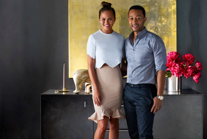 Cover Image of John Legend and his wife Chrissy Teigen in February issue of Architectural Digest . Photo Credit: William Waldron