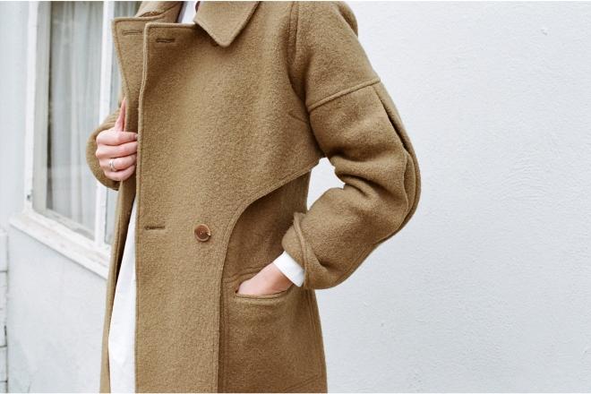 camel iliana wrap coat
